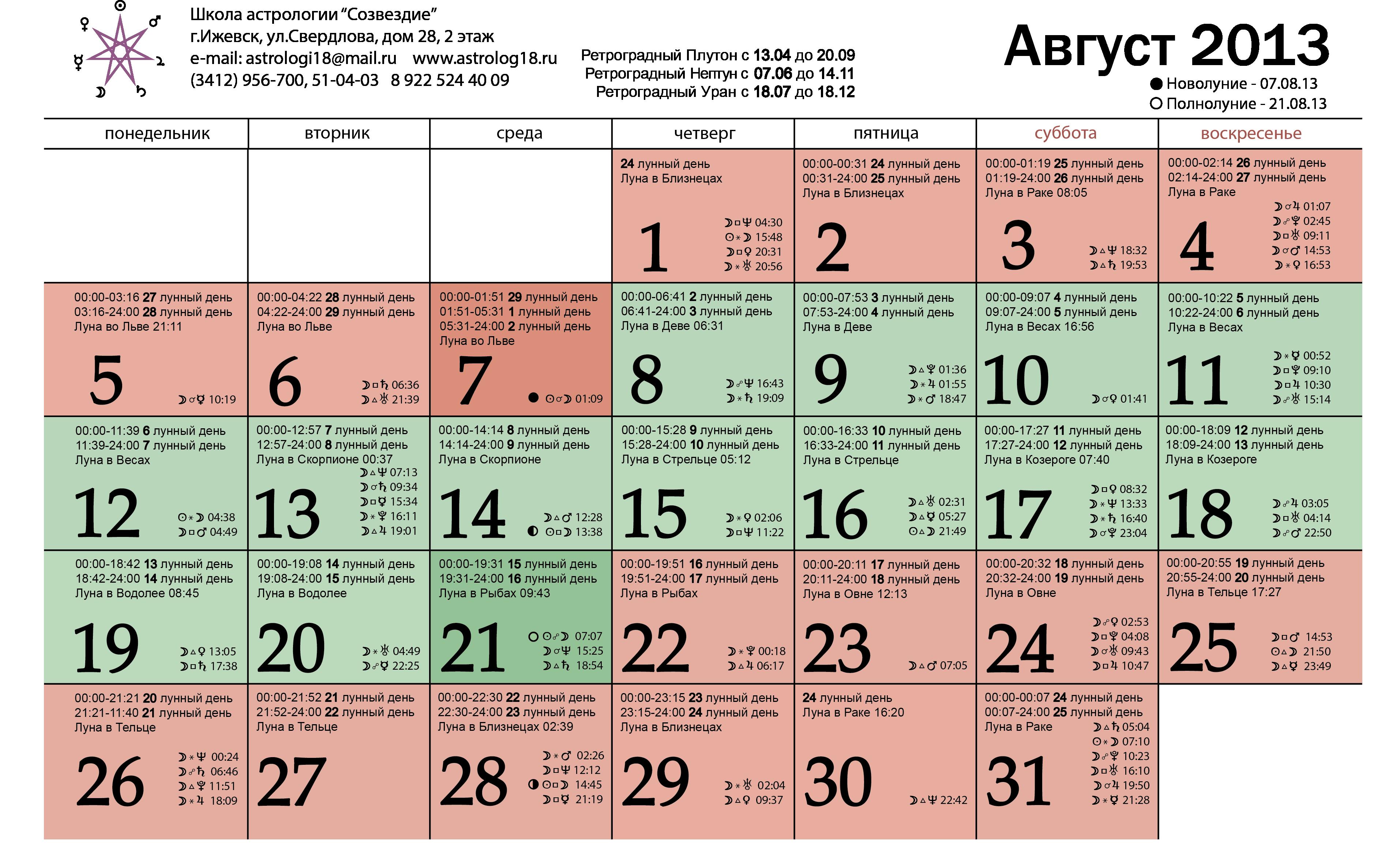 Лунный календарь на август 2013